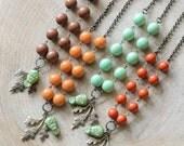 Pumpkins, Hoots and Oaks Necklace - Autumn Fall Fashion - Owl Oak Leaf Charm Necklace