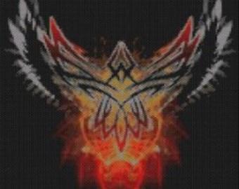 Large Tribal Phoenix Rising Tapestry Beaded Pattern