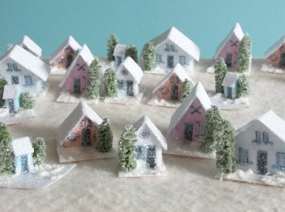 Set of 5 Tiny Pastel Color Houses / Vintage Putz Style Christmas Village Scene of Micro Miniature Glitter Sugar Houses Bottle Brush Tree
