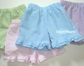 RESERVED for Tiffany - Girls Toddler Seersucker Stripe Shorts with Double Ruffle