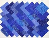 BLUE PRINTS 100% cotton Prewashed 4 inch Quilt Block Fabric Squares (#A/6A)