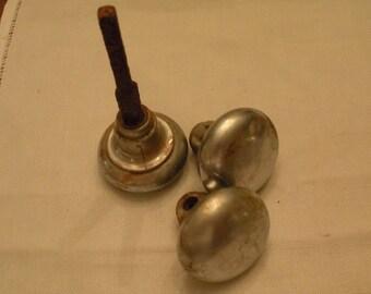 Set of 3 old Rusty Metal Silver Old Door Knobs