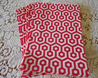 RED honeycomb party bags for Birthdays,showers 20 favor bags Christmas sacks