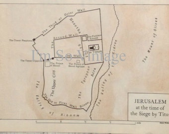 vintage 1926 double hand drawn map Jerusalem