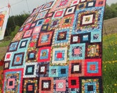 Heirloom Lap Quilt, Throw Blanket - Squares All Around