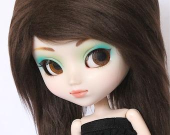 Doll Pullip wig or SD wig dark brown long in front fake fur wig MonstroDesigns