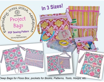 INSTANT DOWNLOAD PDF Sewing Pattern: Needlework, Cross Stitch, Sewing, Embroidery Project Organizer Bags, 3 Sizes DiY Gift for Creative