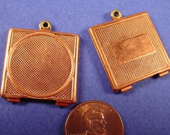 Vintage Copper Plated Round Settings in Flat Square with Loop for 20mm Stone