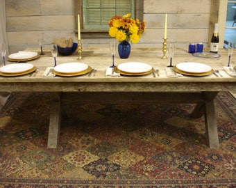 """Driftwood Trestle Table (114"""" x 42"""" x 30""""H) Seats 12 Comfortably"""