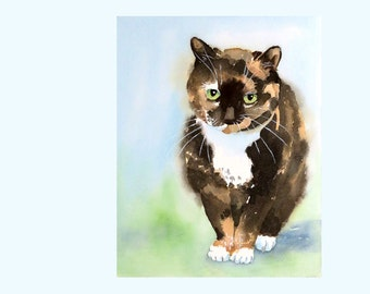 Custom Portrait 9 x 12 - Animal Watercolor Original Painting of a child, pet, cat, dog, house, horse etc... - 9 x 12 custom