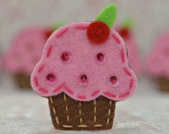 Set of 6pcs handmade felt cupcake--baby pink (FT009)