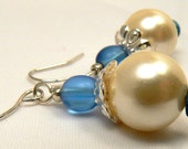 Ivory Pearl Earrings, Blue And Ivory Beaded Earring Dangles, Frosted Sapphire Blue Drops, Lightweight Earring Dangles (E29)