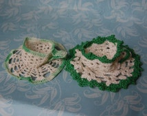 Vintage Crochet Teacup Egg Holders Green St. Patrick's Day