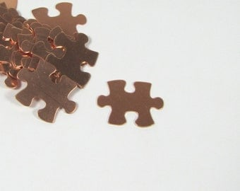 Puzzle piece of 22 gauge copper 20mm x 16mm 15 pack for stamping, earrings, pendants, charms lovely