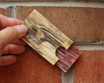 Buckeye Burl Card Case, business accessory - stylish - exotic wood - one of a kind grain patterns