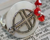 Sideway Cross Charm Ring w Genuine Mother Of Pearl Coin - Choice of Color Crystal