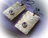 Moonstone Sterling Silver Earrings, moonstone, urban modern handmade natural gemstone earring 925 sterling silver oxidized ancient style mod