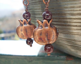 Pomegranate Earrings Garnet stones and Pomegranate Fruits gemstone and antiqued copper dangle drop earrings for women grenadine Persephone