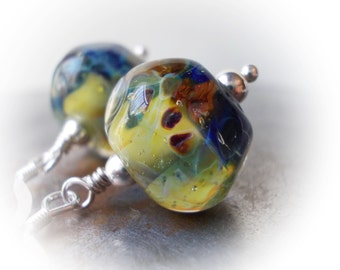 Deep Sea Urchins earrings artist lampwork bead drop sterling silver indigo blue yellow opal ocean mermaid shell fish dragon scales organic