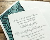 wedding letterpress invitation classic calligraphy