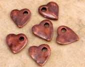 Bronze Patina Small Heart Charm, 10 mm, 6 Pieces, M308