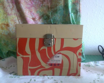 Metal File Box, Tan and Orange, Hamilton Skotch with Black Plastic Handle