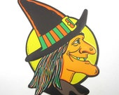 Vintage Embossed Wicked Witch Side Profile Halloween Die Cut Decoration by Beistle