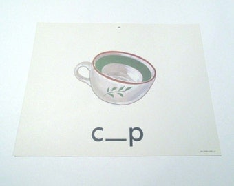 Vintage 1960s Children's Giant Sized School Flash Card with Picture and Word for Cup by Milton Bradley