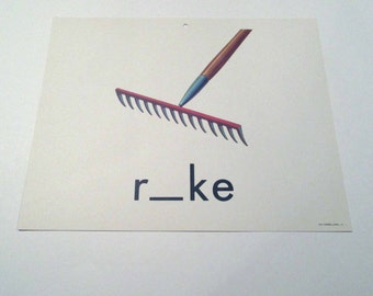 Vintage 1960s Children's Giant Sized School Flash Card with Picture and Word for Rake by Milton Bradley