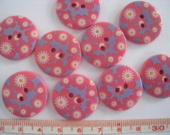 15 pcs of  Sakura Flower Printed  Button - 23mm Pink and Blue
