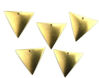 Dapped Triangle Charm or Pendant Small Raw Brass (6) CP235