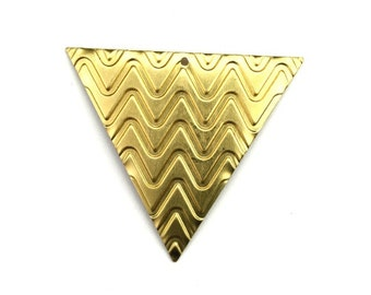 Triangle Chevron Pattern Large Charm or Pendant Raw Brass (4) CP248
