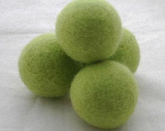 4cm Felt Balls - 5 Count - Yellow Green
