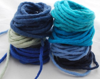 100% Wool Felt Cord - 7 Cords - Assorted Blue Colors