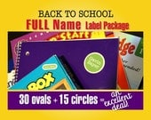 BACK TO SCHOOL Waterproof Labels for Kids - 30 Ovals and 15 Circles - Full Name Labels for Kids, Waterproof Labels for Daycare or School