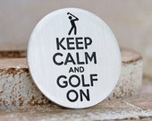 Keep Calm Golf Ball Marker, Silver Golf Ball Marker, Personalised Silver Golf Maker, Gift for Golfer, Father's Day Gift, Golf Gift