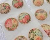Vintage Inspired Floral Envelope Seals - Wedding Bridal Shower Stickers - Wedding Invites