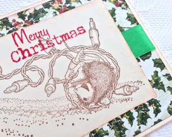 CHRISTMAS IN JULY Handmade Card - Christmas Greeting - Cute House Mouse and Christmas Lights