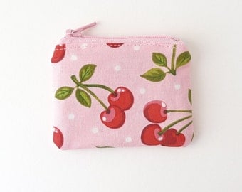 tiny zipper pouch. pink cherry party favor girl tween teen. memory card holder. crochet knit stitch marker case. key ring store card pouch
