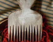 Primitive Heart Flax Comb in WHITE paint - from Notforgotten Farm
