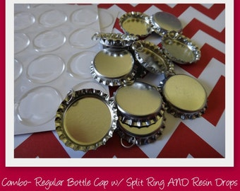 Combo-50 Regular Bottle Caps with Split Ring AND 50 Resin Glaze Drops-You can make these fun pendants or zipper pulls in just minutes