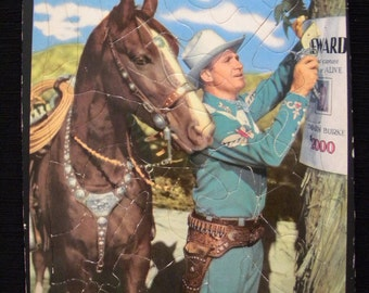 Vintage 1950 Gene Autry Tray Puzzle with Cute Shapes