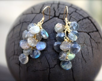 Labradorite Cluster Earrings, elegant earrings, statement earrings, gold earrings, gray and blue earrings,semiprecious earrings,gift for her