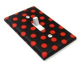 Red and Black Polka Dots light switch cover Rockabilly Style Rockabilly Decor Nursery Decoration 1331
