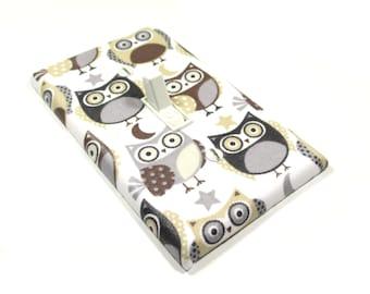 Gray Owl Nursery Decor Light Switch Cover Owl Decoration Woodland Nursery Switchplate Switch Plate