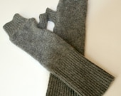 Recycled Steel Gray Cashmere Fingerless Arm Warmers Fingerless Gloves