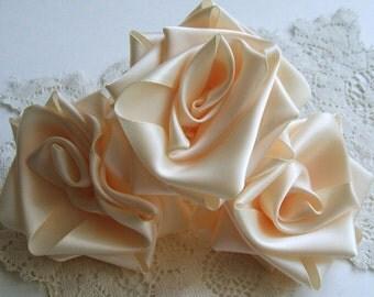 Ribbon Roses, Handmade, 3 Jumbo IVORY 3 inch Diameter, Victorian, Boutique, Designers, Millinery