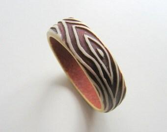 Vintage Faux Bois Bangle Bracelet - SALE - Was 12.00 Now 9.00 - Lucite Acrylic - 1970s - Textured, Painted - Brown & White Wood Grain