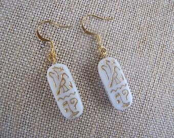 White Egyptian Earrings, White and Gold Earrings, Egyptian Earrings