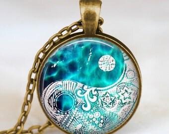 Turquoise blue yin yang necklace , yin yang pendant , chinese yin yang jewelry , zen necklace, glass dome necklace, art pendant